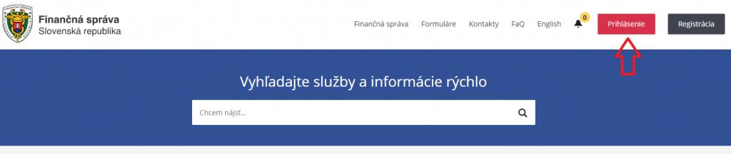 1. krok - prihlásenie na finančnú správu
