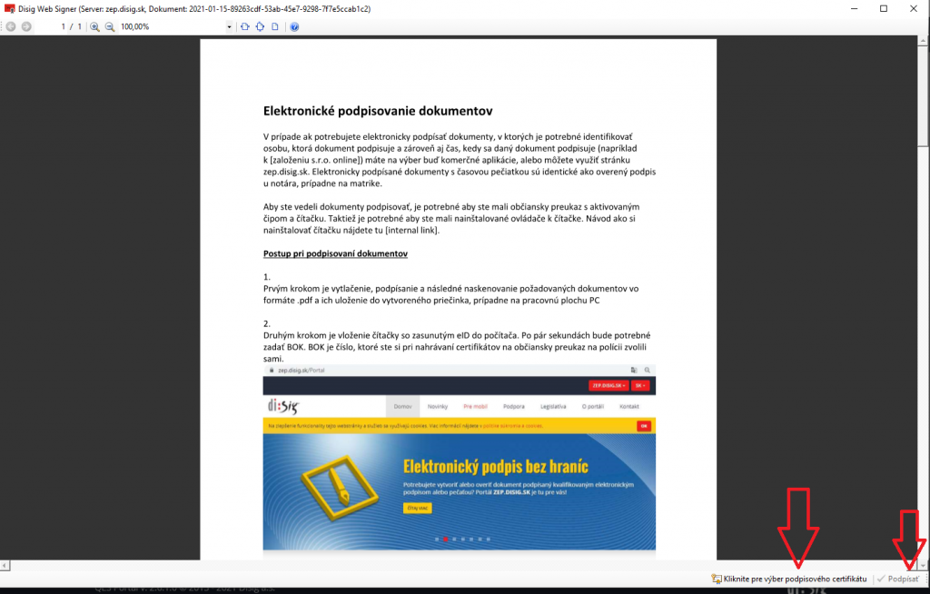 Krok 8 Elektronicke Podpisovanie Dokumentov Vyskocena Lista