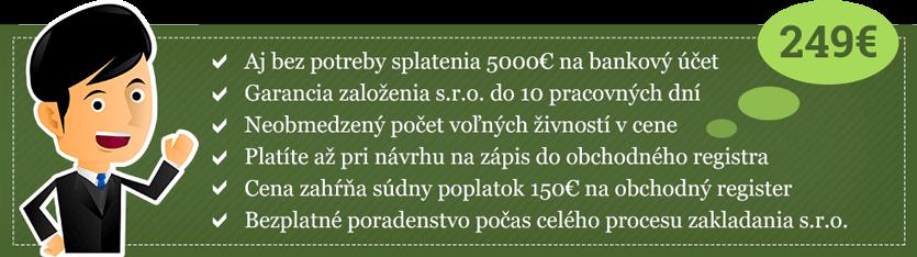 Založenie s.r.o. online 2018 - cena 249€